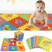 Kids Floor Mats – Baby Animal Play Mat – Floor Puzzle Foam Playmat for Children – Safe and Durable – Toddlers Educational Toy – Bright Colorful Design – Ideal for Baby Shower, Boys and Girls