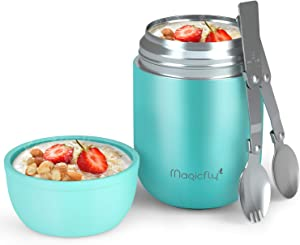 Magicfly Insulated Lunch Container for Hot Food, 16 Oz Stainless Steel Food Flask Lunch Vacuum Bottle with Folding Spoon and Spork for Kids Adults, Travel, Blue