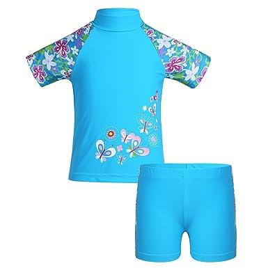 6b6edf4657e3 TiaoBug Enfant Fille 2Pcs Floral Maillot de Bain Haut à Manche Courte T- Shirt de