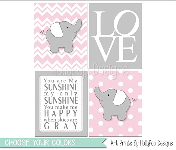 Amazon.com: Pink gray nursery art - Baby girl nursery decor - Baby ...
