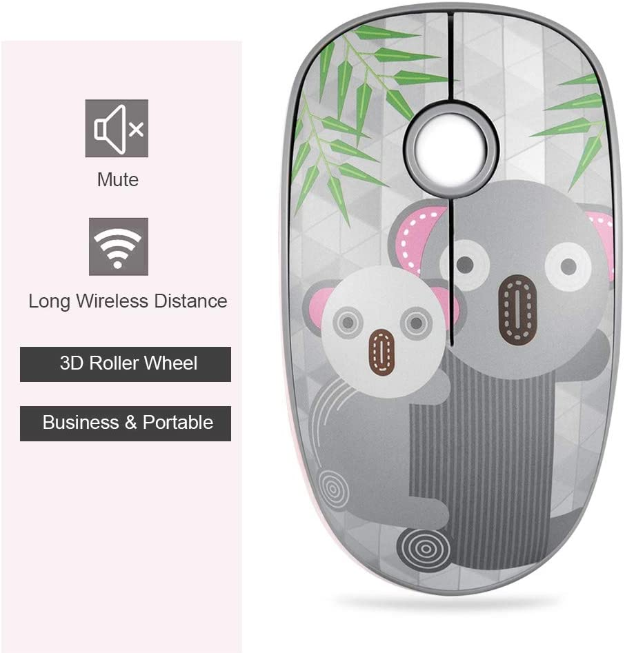 Wendry Mouse Small and Lightweight Wireless Game Mouse Fox Cute Cartoon Mini Wireless Game Mouse 3-Key+3D 1600DPI Game Mouse for Laptop Notebook