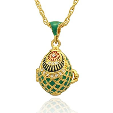 Amazon myd jewelry green enamel mothers day gifts easter myd jewelry green enamel mothers day gifts easter russian faberge egg pendant necklace negle Gallery