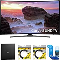 Samsung Curved 65 4K HDR Ultra HD Smart LED TV 2017 Model (UN65MU6500FXZA) with Terk Indoor Flat 4K HDTV Multi-Directional Antenna, 2x 6ft HDMI Cable & Universal Screen Cleaner for LED TVs