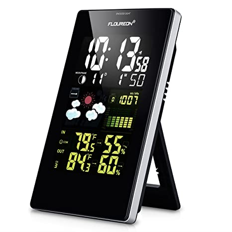 FLOUREON Wireless Home Weather Station, Digital Color Forecast Station with Sensor,Battery Operated Alarm
