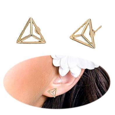 03c65734f Amazon.com: 3D Triangle Studs Ear Crawler Earrings Simple Pattern  Minimalist Simplified Cuffs Climber Ear Wrap Pin Vine Pierced Geometric  Charms Jewelry ...