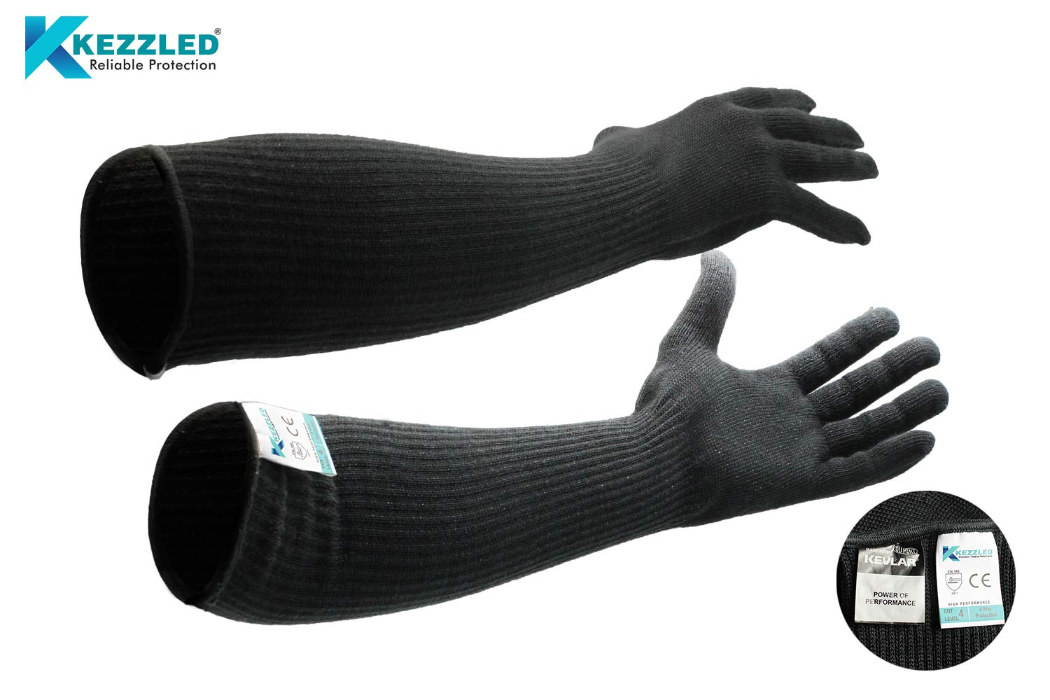 Cut/Scratch/Heat Resistance Designer Glove with Extended Arm Sleeve- Black (Made with Kevlar by DuPont) by KEZZLED (Image #1)