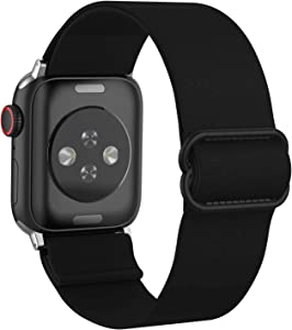 BMBMPT Adjustable Elastic Watch Band Compatible with Apple Watch 38mm 40mm 42mm 44mm, Stretchy Loop Bracelet Women Men Replacement Wristbands for iWatch Series 6/5/4/3/2/1 SE.