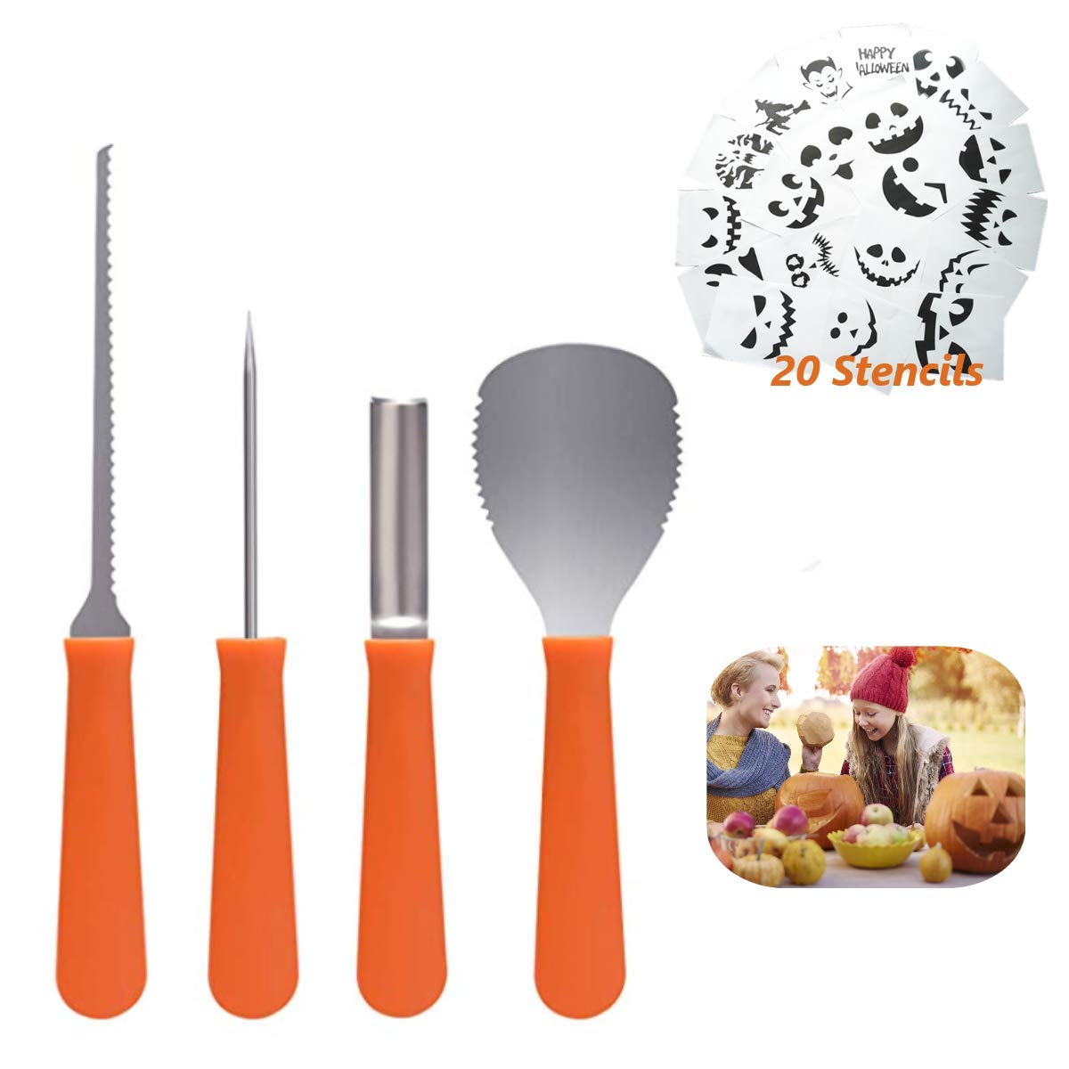 Professional Pumpkin Carving Tools Kit【Set of 4】Premium Heavy Duty Stainless Steel Knives for Easily Sculpt Halloween Jack-O-Lanterns with【Many Pumpkin Carved Stencils/Patterns/Templates】 by AUXIN (Image #1)