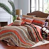 Newrara Boho 3-pieces Stripe Patchwork Quilt Bedding Queen Orange