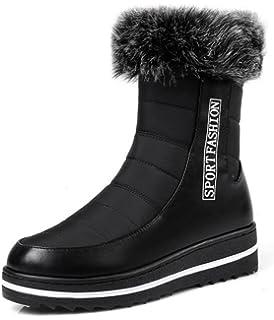 Women's Comfy Fluffy Fur High Wedge Heels Hidden Inside Platform Side Zipper Mid Calf Boots