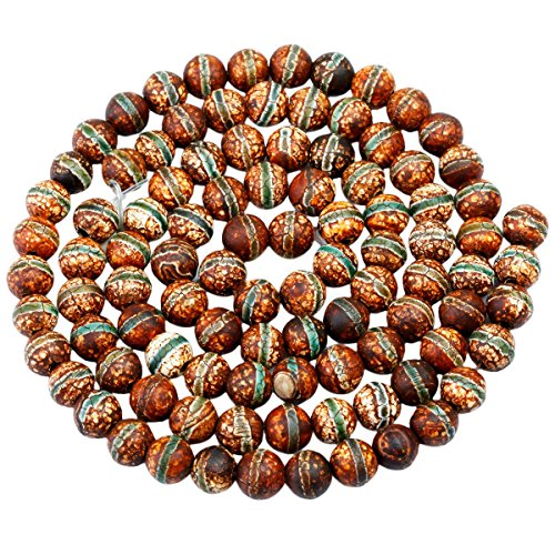 rockcloud Green Stripe Fire Agate Loose Beads Round 8mm Approxi 14
