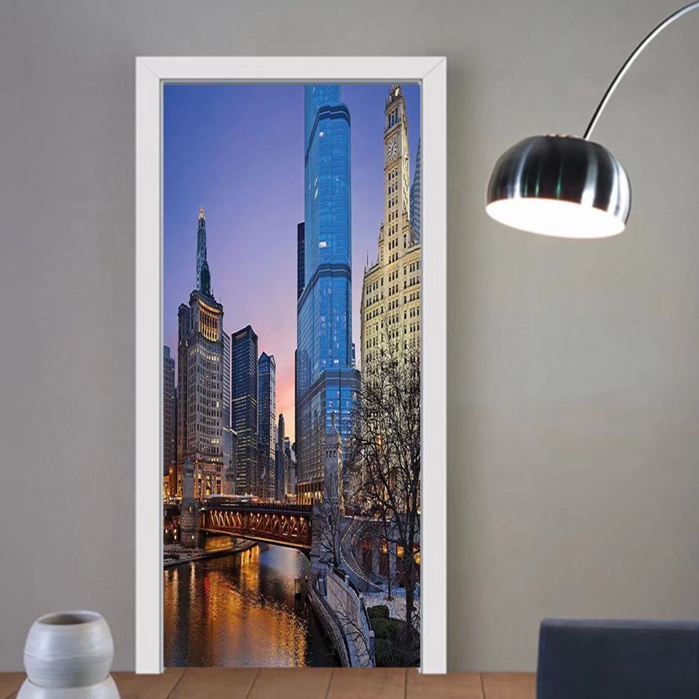 Gzhihine custom made 3d door stickers LaUIFcape Usa Chicago Cityscape with Rivers Bridge and Skyscrapers Cosmopolitan City Image Multicolor For Room Decor 30x79 by Gzhihine