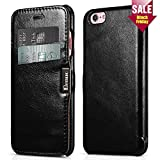 iPhone 6 / 6s Case, Benuo [Card Slot Luxury Series] [Genuine Leather] Folio Flip Corrected Grain Leather Case [2 Card Slots] with Magnetic Closure for iPhone 6s / 6 4.7 inch (Black)