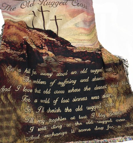 Manual Inspirational Collection 50 x 60-Inch Tapestry Throw, Old Rugged Cross ()