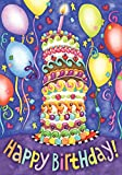 Toland Home Garden Happy Birthday 12.5 x 18 Inch Decorative Colorful Cake Party Balloon Garden Flag