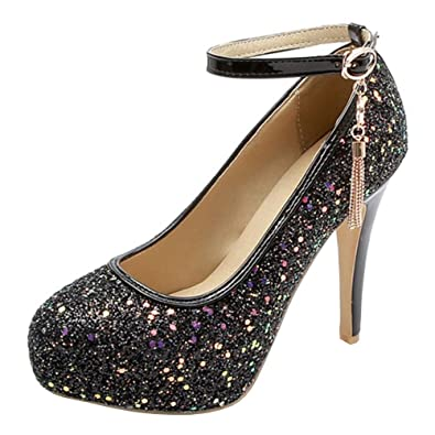 1cb85b5293b Atyche Women s High Heels Mary Janes Ankle Strap Court Shoes Glitter  Platform Stiletto Evening Party Pumps
