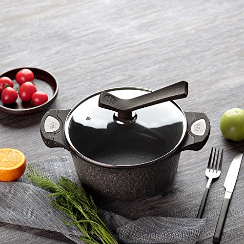 KI 7.7qt Aluminum Casserole Soup Pot Sauce Pot with Induction Base, Heat Resistant Handles, 1 Year Warranty