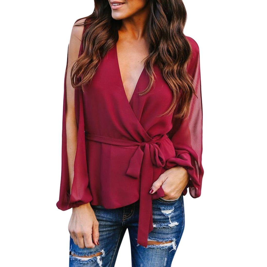 kingfansion Womens Split Long Sleeve Wrap Blouse Casual Bow V Neck Loose Top