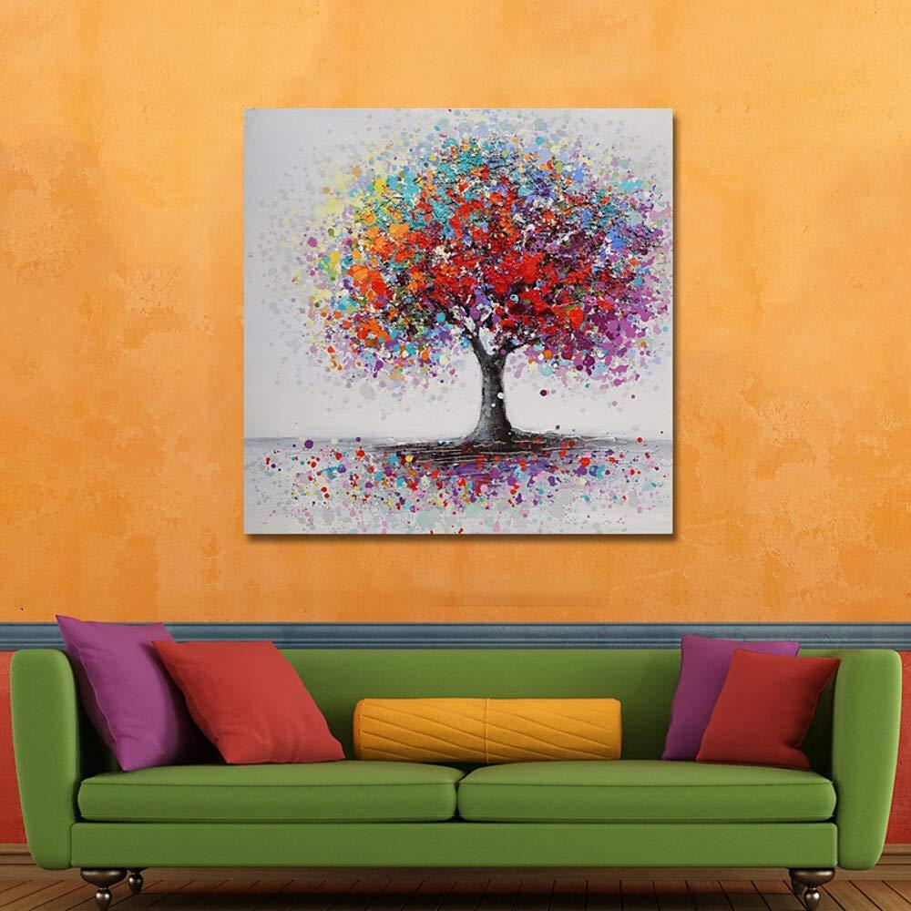 y Compris Cadre int/érieur HIMAmonkey Peinture Acrylique Peinte /à La Main ModerneToileChambre Decoration Art Arbre 40 ,40