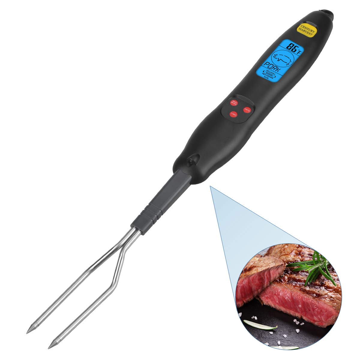 MIBLUE Meat Thermometer, Fork Meat Thermometer Instant Read Food Thermometer with Backlit, LED Light for BBQ, Large Thermometer for Grilling Steak Beef Turkey Chicken Fish Outdoor