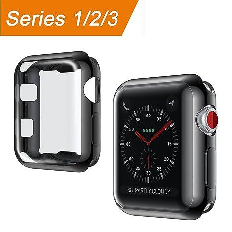 Apple Watch Funda 42mm, [Protector de Pantalla Completo] TPU Suave Cubierta Parachoques Protectora Carcasa Anti-Arañazos Ultra Delgado Case Cover para ...