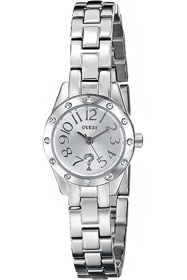 dfcd6bf914ad Guess W0307L1 Reloj Plateado con Acentos de Cristal Genuino Cartucho Self- Adjustable Pulsera  Amazon.es  Relojes