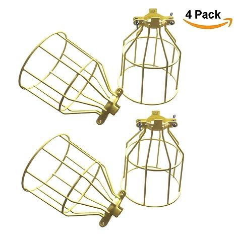 4 Pack - Industrial lámpara de bombilla jaula, jaula Shade ...