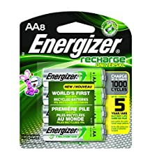 Energizer Recharge Universal 2000 mAh Rechargeable AA Batteries, Pre-Charged,  8 count