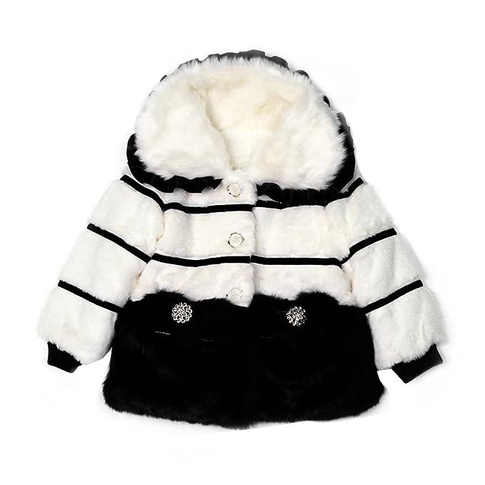 Xmiral Abrigo de Piel Sintética Espesor con Forro Polar para Niñas Bebés Calentito Regalo para Fiesta
