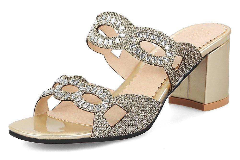 SFNLD Women's Chic Sequined Rhinestones Open Toe Low Cut Slide On Mid Block Heels Mule Slippers Sandals Gold 9.5 B(M) US