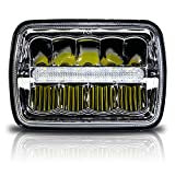 GENSSI Square LED Headlight 7x6 5x7 Chrome Reflector Sealed Beam Replacement (Pack of 1)