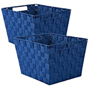 DII Durable Trapezoid Woven Nylon Storage Bin or Basket for Organizing Your Home, Office, or Closets (Basket - 12x10x8 ) Navy - Set of 2