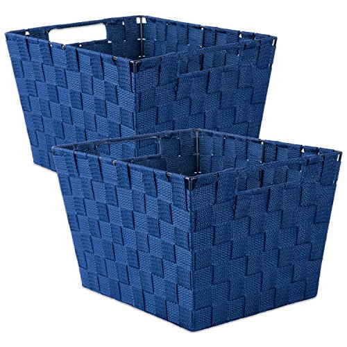 DII Durable Trapezoid Woven Nylon Storage Bin or Basket for Organizing Your Home, Office, or Closets (Large Basket - 13x15x10