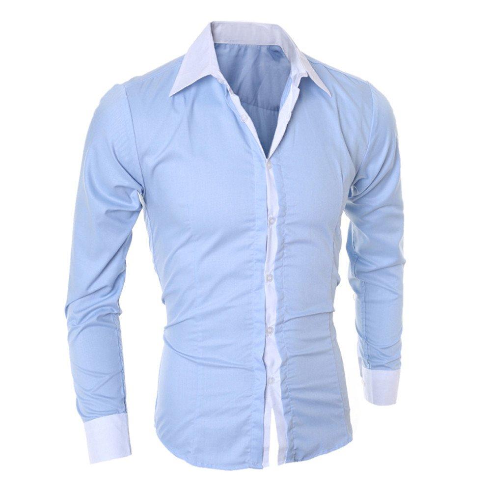 Bafaretk Men Fashion Personality Lapel Shirts Casual Slim Long Sleeve Splice Business Top