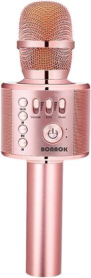 BONAOK Wireless Bluetooth Karaoke Microphone,3-in-1 Portable Handheld karaoke Mic Speaker Machine Christmas Birthday Home Pa