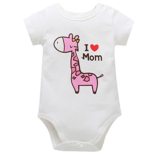 65dff97c421 Fineser Baby Romper Infant Boys Girls Giraffe Cartoon Letter Print Jumpsuit  Outfit Clothes (Pink