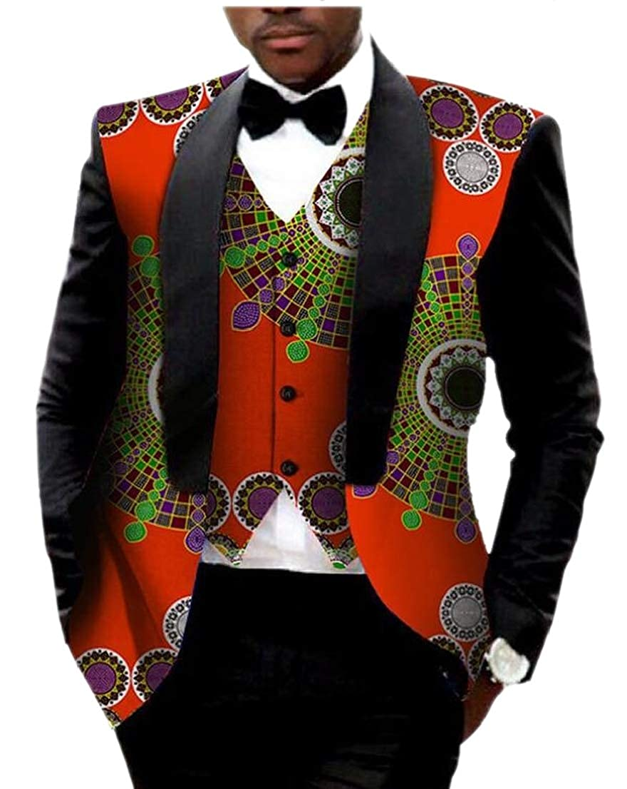 Generic Mens Batik Gilet African Print Dashiki Outerwear Business Suit