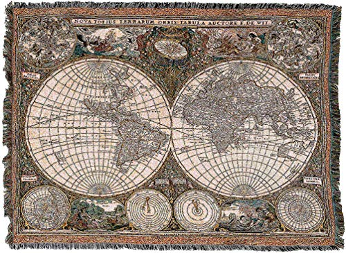 (Pure Country Weavers - Old World Antique Map Woven Tapestry Blanket and Wall Hanging with Fringe Cotton USA 72x54)