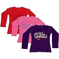 IndiWeaves Girls Cotton 3 Full Sleeves Printed T-Shirt Pack of 3