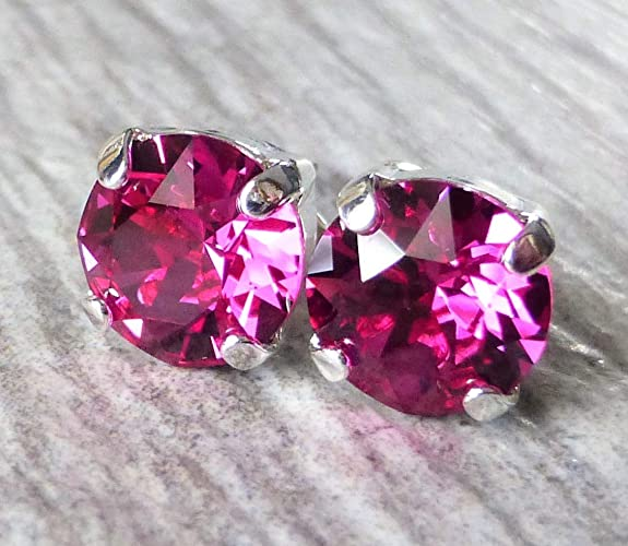 7d4c74e38 Image Unavailable. Image not available for. Color: Fuchsia Magenta  Swarovski Crystal Stud Earrings ...