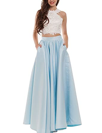 O.D.W.Satin Lace Two Piece Long Party Prom Dresses with Pockets Formal Gowns UK18