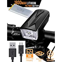 Bike Light Front Bicycle Lights Rechargeable USB Cree LED with 1800mah Lithium Polymer Battery - Anti-Glare Lens Wider Angle Super Easy Operation