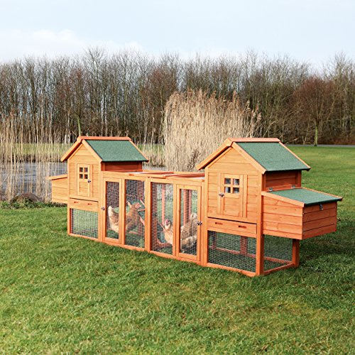 "Trixie Pet Products Chicken Coop Duplex with Outdoor Run, 123.5 by 27.5 by 42.5"", Brown"
