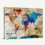 Custom World Map Canvas Print - World Map Push Pin Travel Map Wall Art Canvas Print - Personalized Alternative Wedding Guest Book Canvas Print - Adventure World Map Canvas Print