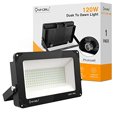 Onforu 120W Dusk to Dawn LED Flood Light, 13000lm Outdoor Lighting with Photocell, IP66 Waterproof Super Bright Security Lights, 5000K Daylight White Floodlight for Yard, Garden, Playground, Square