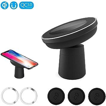 EooCoo Cargador Inalámbrico Rápido, Soporte de Carga inalámbrico magnético para iPhone XR/XS MAX/XS/X / 8/8 Plus,para Samsung Galaxy ...