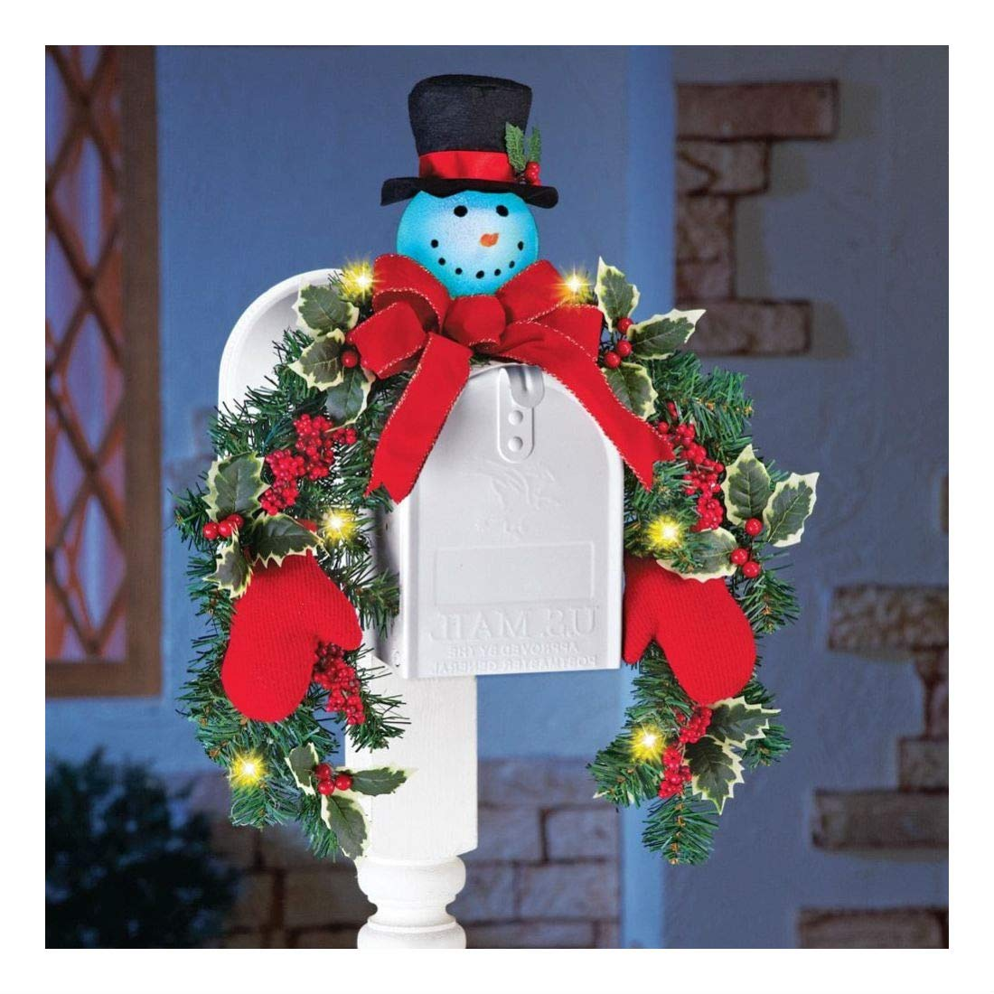Lighted Frosty The Snowman Evergreen Mailbox Cover Swag