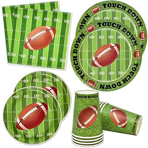 Football Super Bowl Party Supplies for Field Day Game Touchdown 24 Guest 24 Dinner Plates 24 Dessert Paper Plate 24 Cups and 50 Napkins for Superbowl Table Decorations Birthday Theme Decoration
