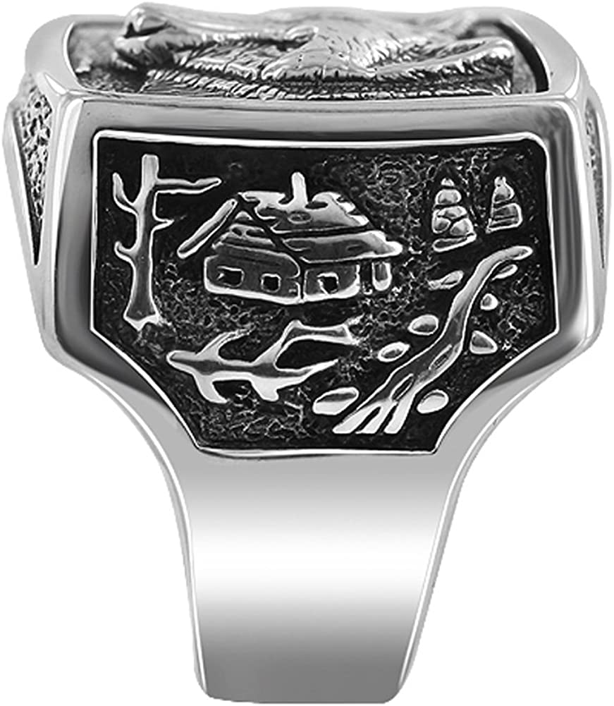 Gem Avenue Mens 925 Sterling Silver Southwestern Style Wolf /& Cottage Design Rectangular Ring