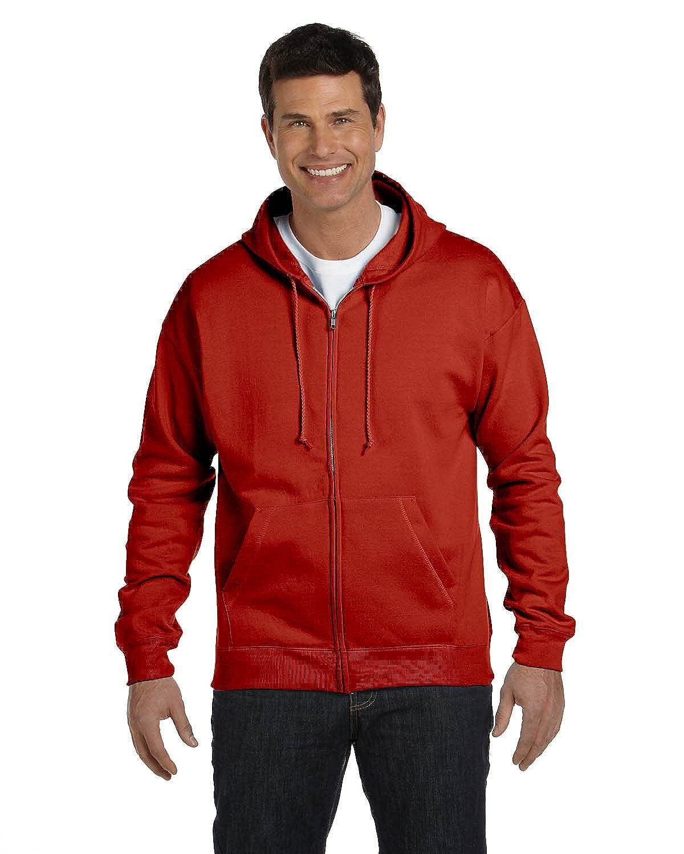 Large, 1 Light Steel + Deep Red Hanes Mens Full-Zip EcoSmart Fleece Hoodie